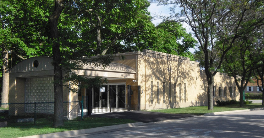 Mander Chapel building at New Life Cemetery in Lincolnwood, IL