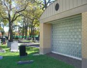 Glass wall of Mander Chapel at New Light Cemetery